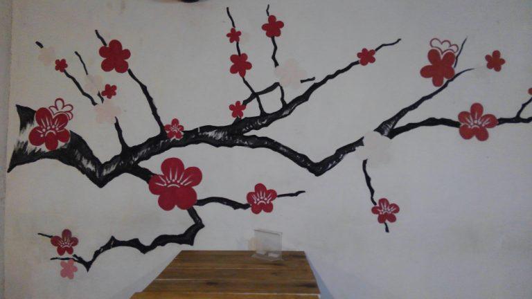 ハバナ旧市街地の日本食堂の梅の絵