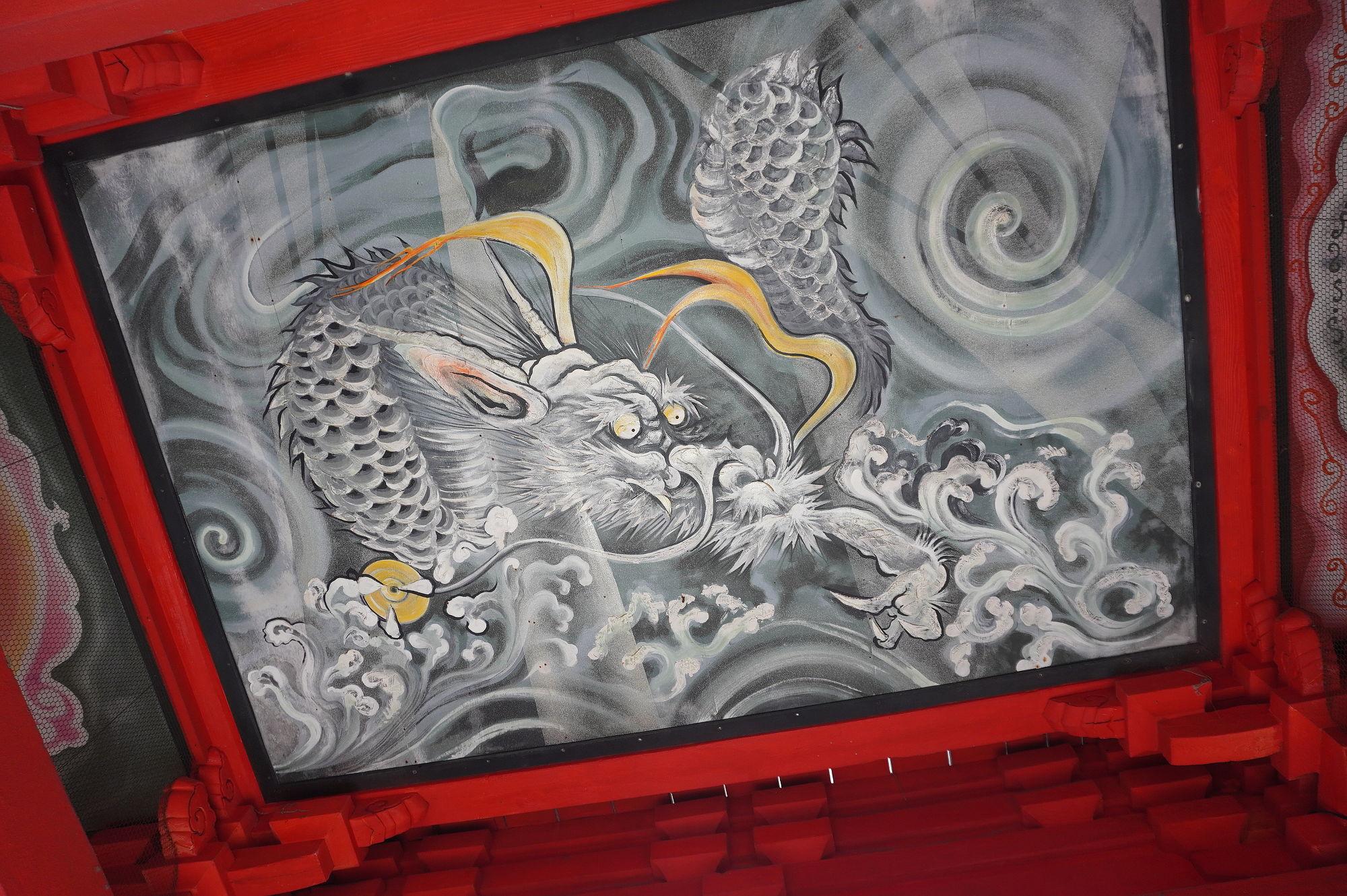 高山寺の楼門の天井絵(龍)